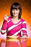Vrouw die soep eet stock fotografie