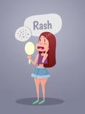Vrouw die in spiegel met rode vlekken op gezicht kijken vector illustratie