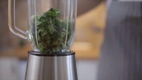 Vrouw die spinazie in de mixer zetten, langzame geanimeerde video stock footage