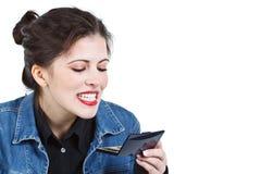 Vrouw die tanden controleert Royalty-vrije Stock Afbeelding