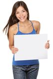 Vrouw die teken toont stock afbeeldingen