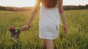 Vrouw die ter beschikking langzaam op plattelandsgebied met boeket van wilde bloemen gaan Meisje die in weide lopen stock footage