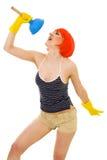 Vrouw die terwijl het schoonmaken zingt Royalty-vrije Stock Fotografie