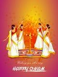 Vrouw die Thirvathirakali-dans voor Gelukkig Onam-festival van achtergrond de Zuid- van India Kerala uitvoeren royalty-vrije illustratie