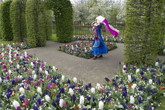 Vrouw die tussen bloemen met vlag dansen Stock Afbeelding