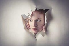 Vrouw die uit het niets knallen Stock Foto