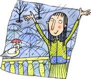 Vrouw die van de regen genieten stock illustratie