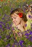 Vrouw die van de zon geniet Stock Fotografie