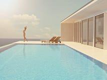 Vrouw die van de zon genieten bij de eindeloze pool het 3d teruggeven Stock Foto