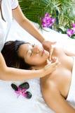 Vrouw die van gezichtstherapiezitting geniet Royalty-vrije Stock Foto