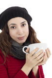 Vrouw die van haar kop thee genieten Stock Foto's