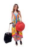 Vrouw die van vakantie terugkeert Stock Foto