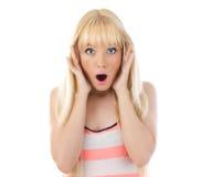 Vrouw die verrassing kijkt Stock Foto's