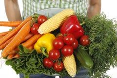 Vrouw die verschillende verse groenten houden Royalty-vrije Stock Afbeeldingen