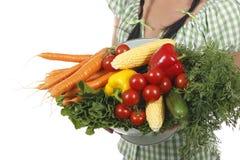 Vrouw die verschillende verse groenten houden Stock Fotografie
