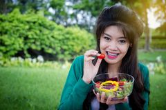 Vrouw die verse groentesalade houden royalty-vrije stock fotografie