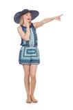 Vrouw die virtuele geïsoleerde knoop drukken Royalty-vrije Stock Fotografie