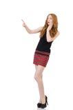 Vrouw die virtuele geïsoleerde knoop drukken Stock Foto's