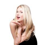Vrouw die vliegende kus geeft. Stock Afbeeldingen