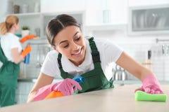 Vrouw die vod en spuitbus voor het schoonmaken van lijst met collega gebruiken stock fotografie