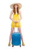 Vrouw die voor de zomervakantie voorbereidingen treffen Stock Afbeeldingen