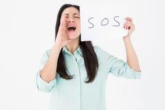 Vrouw die voor hulp gillen Stock Foto's