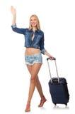 Vrouw die voor lange geïsoleerde reis voorbereidingen treffen Stock Fotografie