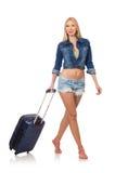 Vrouw die voor lange geïsoleerde reis voorbereidingen treffen Stock Foto