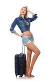 Vrouw die voor lange reis voorbereidingen treffen Stock Fotografie