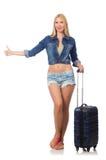 Vrouw die voor lange reis voorbereidingen treffen Stock Afbeeldingen