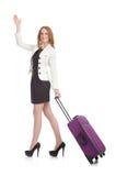 Vrouw die voor vakantie voorbereidingen treft Stock Foto's