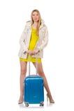 Vrouw die voor vakantie voorbereidingen treft Stock Foto