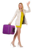 Vrouw die voor vakantie voorbereidingen treft Stock Fotografie