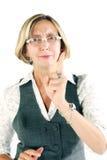 Vrouw die waarschuwing geeft stock foto