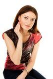 Vrouw die wadof watten gebruikt Royalty-vrije Stock Foto's