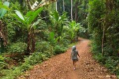 Vrouw die in wildernis lopen Royalty-vrije Stock Afbeeldingen