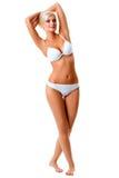 Vrouw die wit ondergoedportret dragen Stock Afbeelding