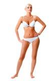 Vrouw die wit ondergoedportret dragen Stock Fotografie