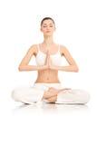 Vrouw die yoga doet Royalty-vrije Stock Foto