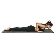 Vrouw die yoga doet Geïsoleerd op wit Stock Foto