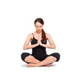 Vrouw die yogaoefening doet Royalty-vrije Stock Foto