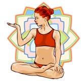 Vrouw die yogaoefeningen doet Mandala op de achtergrond Vector beeld Royalty-vrije Stock Afbeeldingen