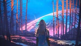 Vrouw die zich alleen in bos met fictieve achtergrond bevinden stock illustratie