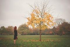 Vrouw die zich door boom in de herfst bevinden Royalty-vrije Stock Afbeeldingen