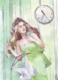 Vrouw die zich met een klok op de muur haasten stock illustratie