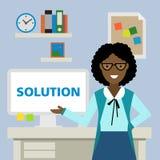Vrouw die zich met oplossing bevinden Stock Afbeelding
