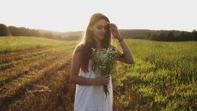 Vrouw die zich op gebied met boeket van wilde bloemen, los lang haar in de zon bij zonsondergang, het glimlachen bevinden stock videobeelden