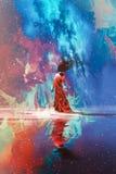 Vrouw die zich op water tegen gevuld Heelal bevinden vector illustratie