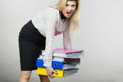 Vrouw die zware kleurrijke bindmiddelen met documenten houden Stock Foto