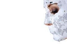 Vrouw in document masker Royalty-vrije Stock Foto's